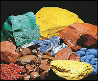 BNPS.co.uk (01202 558833)<br /> Pic: FineArtsMuseumSanFrancisco/BNPS<br /> <br /> Raw materials included Azurite, Cinnabar, malachite, brown ochre and madder.<br /> <br /> The traditional view of the classical world full of austere white marble statue's and buildings has been transformed by a new book - that reveals the ancient world was in fact full of vibrant colours.<br /> <br /> Painstaking new research has discovered that most of the worlds most iconic art works from ancient Greece and Rome were in fact plastered with vibrant colours.<br /> <br /> However over the centuries the bright colours faded due to exposure to the elements and Renaissance maestros like Leonardo da Vinci and Michelangelo working in the 15th century believed it was the norm for sculptures to be white.<br /> <br /> Now, scientists are able to use ultra-violet photography to examine ancient pigment's and recreate how sculptures dating back to the Classical age would have looked.