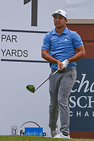 Xander Schauffele (USA) watches his tee shot on 1 during round 1 of the 2019 Charles Schwab Challenge, Colonial Country Club, Ft. Worth, Texas,  USA. 5/23/2019.<br /> Picture: Golffile | Ken Murray<br /> <br /> All photo usage must carry mandatory copyright credit (© Golffile | Ken Murray)