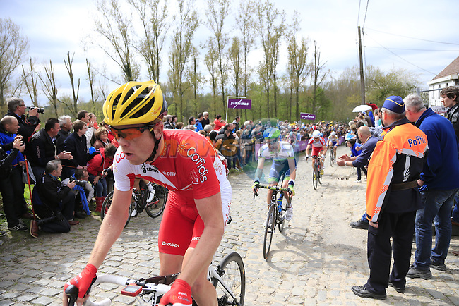 The breakaway group, including Romain Zingle (BEL) Cofidis, climb the Molenberg during the 2014 Tour of Flanders, Belgium.<br /> Picture: Eoin Clarke www.newsfile.ie