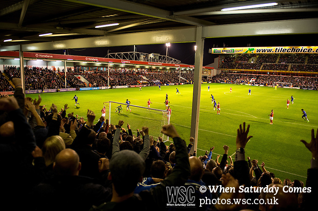 Walsall 1 Chelsea 4, 23/09/2015. Bescot Stadium, Capital One Cup Third Round. League One Walsall host struggling Premier League Chelsea. After drawing the Londoners, Saddlers supporters sold out the Bescot Stadium hoping for an upset. The match was watched by 10,525. Kenedy celebrates his first goal for Chelsea. Photos by Simon Gill.