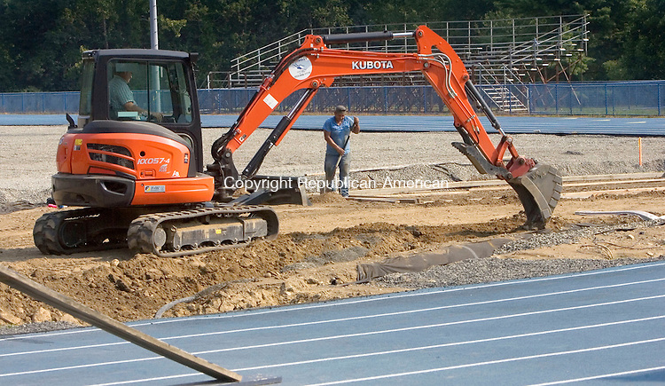 SEYMOUR CT. 17 August 2015-081815SV07-The football field at Seymour High is undergoing a major renovation at the school in Seymour Tuesday.<br /> Steven Valenti Republican-American