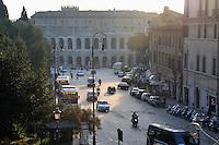 Rome, Italy: view from Piazza del Campidoglio towards via del Teatro Marcello.