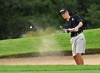 NWA Democrat-Gazette/MICHAEL WOODS &bull; @NWAMICHAELW<br /> Bentonville's Brice Lee chips onto the green during Bentonville's golf match against Har-Ber Tuesday August 18, 2015, at the Berksdale Golf Course in Bella Vista.