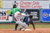 Brendan Rodgers (1) of the Hartford Yard Goats and Bo Bichette (5) of New Hampshire Fisher Cats collide at second during a game at Dunkin Donuts Park on April 8, 2018 in Hartford, Connecticut.<br /> (Gregory Vasil/Four Seam Images)