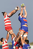Damon Leasuasua steals the lineout ball ahead of Raymon Fuilala-Alesana. Counties Manukau Premier Club Rugby game between Karaka and Ardmore Marist, played at the Karaka Sports Park on Saturday April 21st 2008. Ardmore Marist won the game 29 - 7 after being 7 all at halftime.<br /> Karaka 7 -Kalione Hala try, Juan Benadie conversion.<br /> Ardmore Marist South Auckland Motors (Counties Power Cup Holders) 29 - Sione Tuipulotu, Bryan Mulitalo, Damon Leasuasu, Joseph Ikenasio tries, Latiume Fosita 3 conversions, Latiume Fosita penalties.<br /> Photo by Richard Spranger