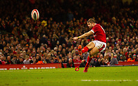 1st February 2020; Millennium Stadium, Cardiff, Glamorgan, Wales; International Rugby, Six Nations Rugby, Wales versus Italy; Leigh Halfpenny of Wales kicks a conversion to make the score 35-0