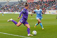 Bridgeview, IL, USA - Sunday, May 1, 2016: Orlando Pride forward Sarah Hagen (8) and Chicago Red Stars defender Casey Short (6) during a regular season National Women's Soccer League match between the Chicago Red Stars and the Orlando Pride at Toyota Park. Chicago won 1-0.