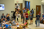 Lamar Hall is packed at class change time. Photo by Kevin Bain/University Communications Photography