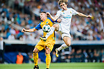 Luka Modric (r) of Real Madrid battles for the ball with Roberto Lago of APOEL FC during the UEFA Champions League 2017-18 match between Real Madrid and APOEL FC at Estadio Santiago Bernabeu on 13 September 2017 in Madrid, Spain. Photo by Diego Gonzalez / Power Sport Images