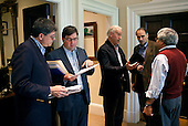 Vice President Joe Biden confers with senior staff and members of the the economic team regarding tax cuts, in the Outer Oval Office, Sunday, December 5, 2010. Pictured from left:  Jack Lew, Director Office of Management and Budget; Jason Furman, Deputy Assistant to the President for Economic Policy; Senior Advisor David Axelrod; and interim Chief of Staff Pete Rouse. .Mandatory Credit: Pete Souza - White House via CNP