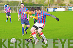 Camp United's Andrew Finn and Dingle Bay Rovers Eoin Murphy...