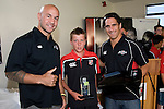 Goldfields  Player of the Year Cory Larsen with DJ Forbes & Chad Tuoro. Counties Manukau Rugby Union Junior representative prize giving held at Growers Stadium on Monday October 20th 2008.