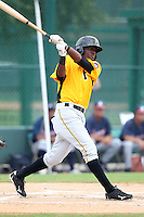 GCL Pirates shortstop Alen Hanson #31 at bat during a game against the GCL Braves at Disney Wide World of Sports on June 25, 2011 in Kissimmee, Florida.  The Pirates defeated the Braves 5-4 in ten innings.  (Mike Janes/Four Seam Images)