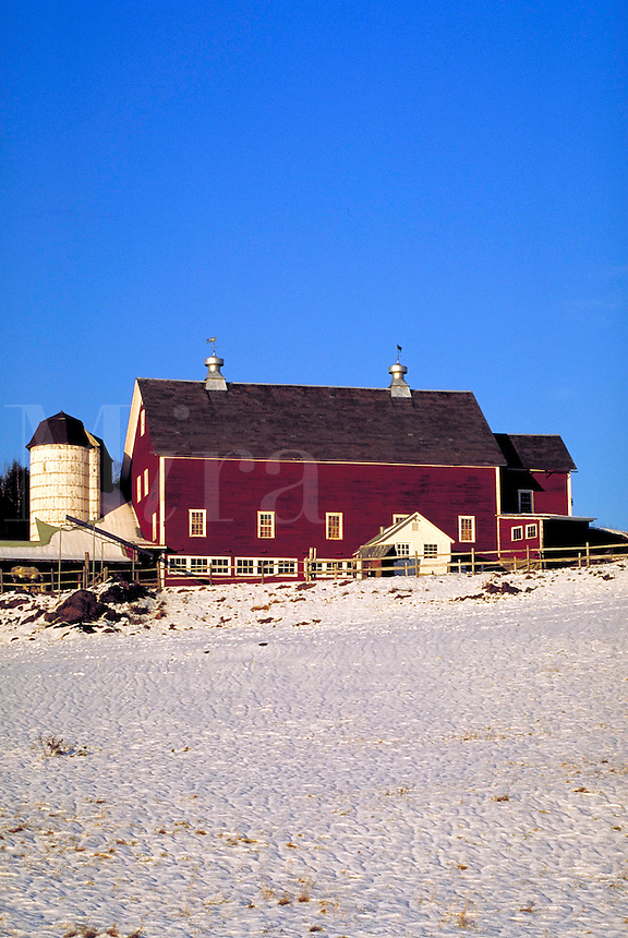 Barn and farm with snow covered field.<br />