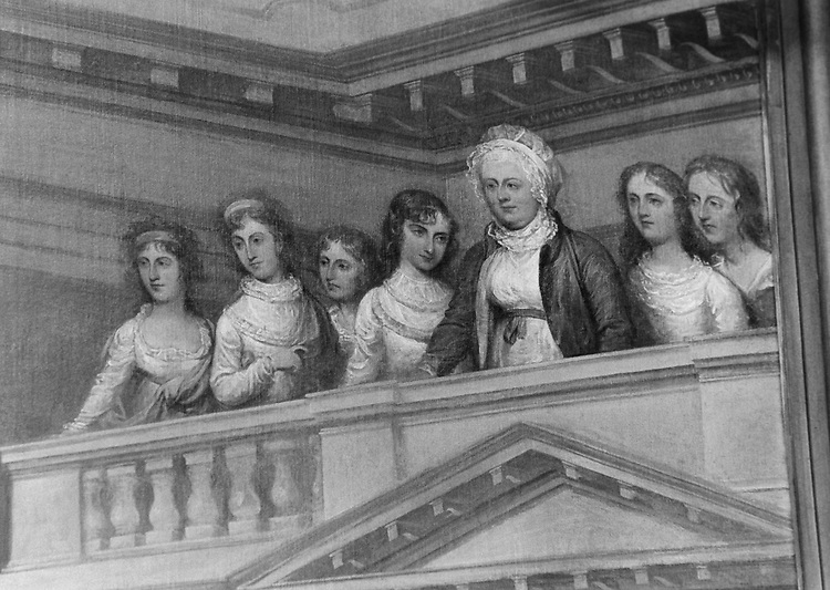 """Detail of """"General George Washington Resigning his Commission"""" showing Mrs. Washington and her three daughters. Painting in the Rotunda of the Capitol was done by John Trumbell in 1783. Photo taken in March 1996. (Photo by Rebecca Roth/CQ Roll Call via Getty Images)"""