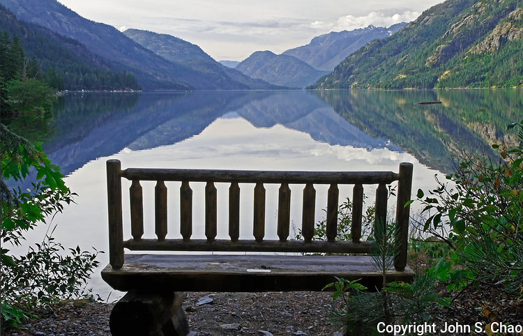 Bench with a morning view downlake Lake Chelan in Stehekin, North Cascades National Park, Washington State