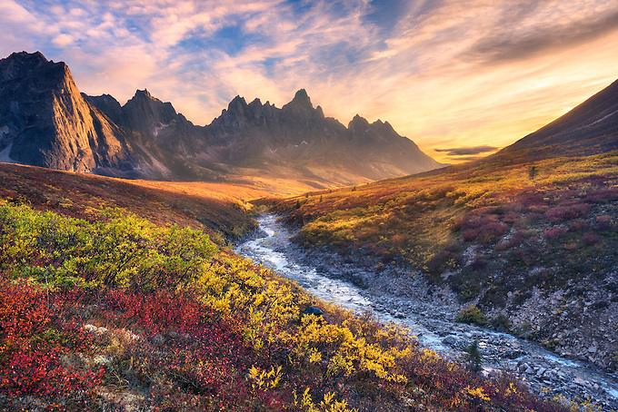 Beautiful sunset light and colorful tundra looking toward Tombstone Mountain during Autumn in the Ogilvie Mountain wilderness, Yukon Territory.<br /> Artist Edition: 15/200 Limited