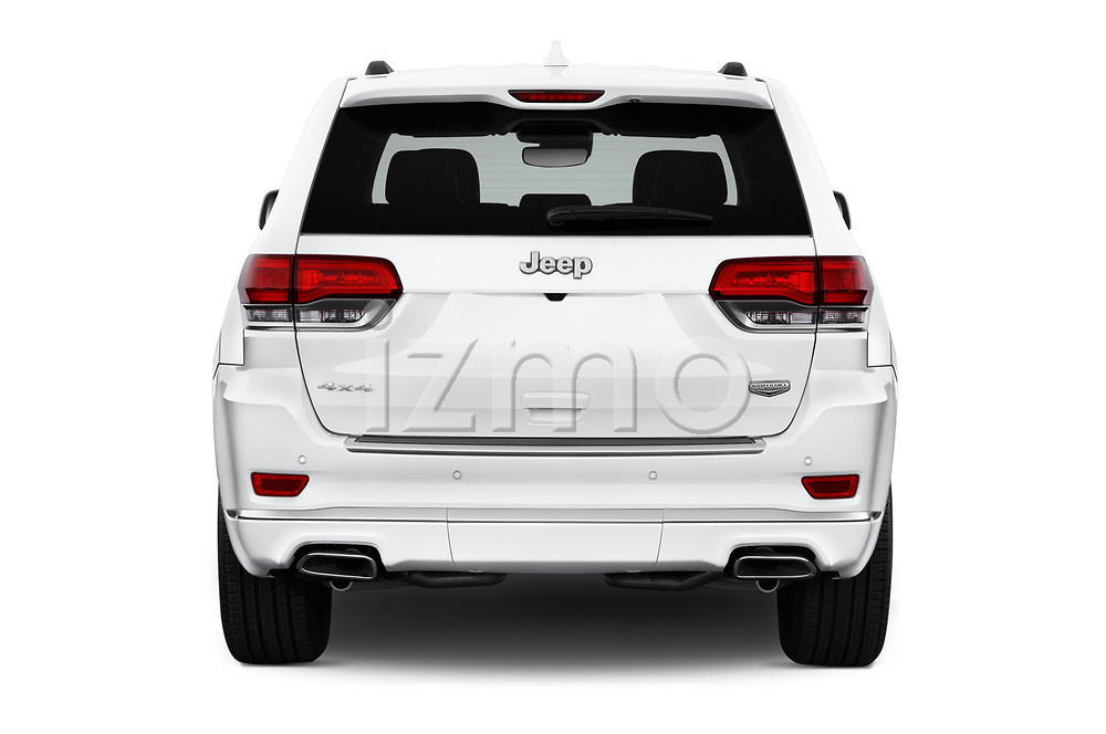 Straight rear view of a 2018 Jeep Grand-Cherokee Summit 5 Door SUV stock images