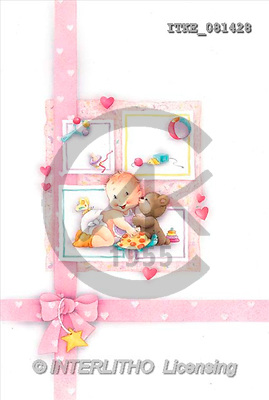 Isabella, BABIES, paintings, baby, bear kissing(ITKE081428,#B#) bébé, illustrations, pinturas ,everyday