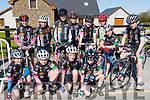 The Killarney underage team that competed in the Johnny Drumm cycle race in Currow on Sunday front row l-r: Alva Russell kissane, Sarah McGrath, Patrick Galvin, Lorcan Daly. Back row: Tara Russell-Kissane, Saidbh Murphy, Oisin O'Connor, Stefan Caulfield, Eoin Patwell, Shane galvin, Fergal Murphy and Ethan Slattery