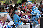 Pearl Harbor survivor Mickey Ganitch, 93, of San Leandro, Ca., dances to the Navy band before the 71st Anniversary Pearl Harbor Day Commemoration at the Pearl Harbor Visitor Center in Honolulu, HI on, Dec. 7, 2012. .Photo by Cathleen Allison