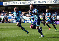 Garry Thompson of Wycombe Wanderers celebrates his goal during the Sky Bet League 2 match between Wycombe Wanderers and Cheltenham Town at Adams Park, High Wycombe, England on the 8th April 2017. Photo by Liam McAvoy.