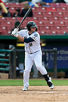 Kane County Cougars designated hitter Zack Shannon (18) during a Midwest League game against the Cedar Rapids Kernels at Northwestern Medicine Field on April 28, 2019 in Geneva, Illinois. Kane County defeated Cedar Rapids 3-2 in game one of a doubleheader. (Zachary Lucy/Four Seam Images)