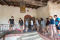 Incoming first-years participate in Oxy Engage with a visit to the Santa Barbara Mission on Aug. 19, 2014, one of the stops made by the California Coast group. (Photo by Marc Campos, Occidental College Photographer)