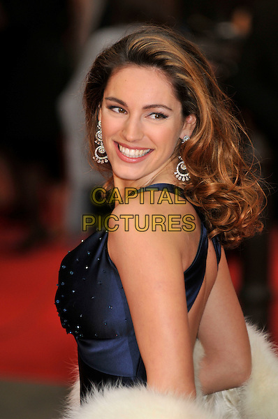 KELLY BROOK .Red Carpet Arrivals for the British Academy Television Awards 2008, held at the London Palladium, London, England, April 20th 2008. .BAFTA BAFTA's half length blue back over shoulder fur wrap cream white .CAP/PL.©Phil Loftus/Capital Pictures