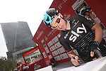 Elia Viviani (ITA) Team Sky at sign on before the start of Stage 2 the Nation Towers Stage of the 2017 Abu Dhabi Tour, running 153km around the city of Abu Dhabi, Abu Dhabi. 24th February 2017<br /> Picture: ANSA/Claudio Peri | Newsfile<br /> <br /> <br /> All photos usage must carry mandatory copyright credit (&copy; Newsfile | ANSA)