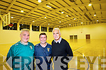 Club officers Conor Donovan, Peter Fortune and Denis Fitzgerald in the full size basketball court at John Mitchels GAA clubs new development at at Skehenagh.