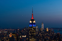 The Empire State Building lit in the Red, White and Blue colors of the US Soccer Federation on the 100th anniversary of the founding of U. S. Soccer in New York, NY, on April 05, 2013.