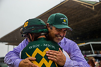 ARCADIA, CA - MARCH 10: Trainer Mick Ruis hugs jockey Javier Castellano after winning the San Felipe Stakes at Santa Anita Park on March 10, 2018 in Arcadia, California.(Photo by Alex Evers/Eclipse Sportswire/Getty Images)