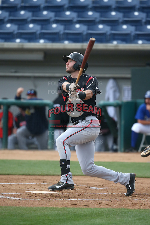 Nick Schulz (23) of the Lake Elsinore Storm bats against the Rancho Cucamonga Quakes at LoanMart Field on April 10, 2016 in Rancho Cucamonga, California. Lake Elsinore defeated Rancho Cucamonga, 7-6. (Larry Goren/Four Seam Images)
