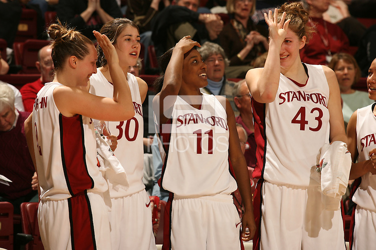 23 February 2006: Krista Rappahahn, Brooke Smith, Candice Wiggins, and Kristen Newlin during Stanford's 100-69 win over the Washington Huskies at Maples Pavilion in Stanford, CA.