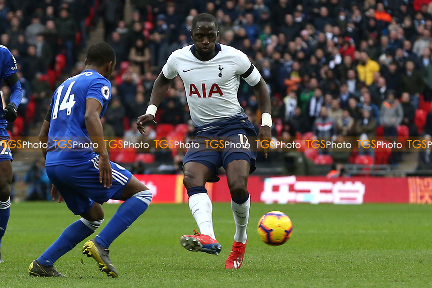 Ricardo Pereira of Leicester City and Moussa Sissoko of Tottenham Hotspur during Tottenham Hotspur vs Leicester City, Premier League Football at Wembley Stadium on 10th February 2019