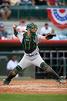 Daytona Tortugas catcher Tyler Stephenson (30) throws down to second base on a stolen base attempt during a game against the Florida Fire Frogs on April 7, 2018 at Osceola County Stadium in Kissimmee, Florida.  Daytona defeated Florida 4-3 in a six inning rain shortened game.  (Mike Janes/Four Seam Images)