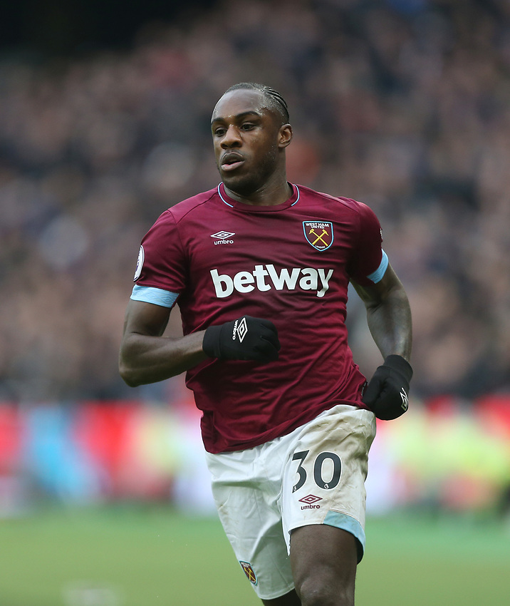West Ham United's Michail Antonio<br /> <br /> Photographer Rob Newell/CameraSport<br /> <br /> The Premier League - West Ham United v Arsenal - Saturday 12th January 2019 - London Stadium - London<br /> <br /> World Copyright © 2019 CameraSport. All rights reserved. 43 Linden Ave. Countesthorpe. Leicester. England. LE8 5PG - Tel: +44 (0) 116 277 4147 - admin@camerasport.com - www.camerasport.com