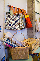 Handprinted bags and wrapping paper on display in Nala Designs in Bangsar, Kuala Lumpur, Malaysia, on 18 August 2015. Nala Designs, by founder and designer Lisette Scheers, is inspired by Malaysia's melting pot of Chinese, Malay and Indian cultures. Photo by Suzanne Lee for Monocle