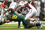 09/17/11-- Oregon's Daryle Hawkins upends Missouri State's Vernon Scott in the second half at Autzen Stadium in Eugene, Or....Photo by Jaime Valdez. ..............................................