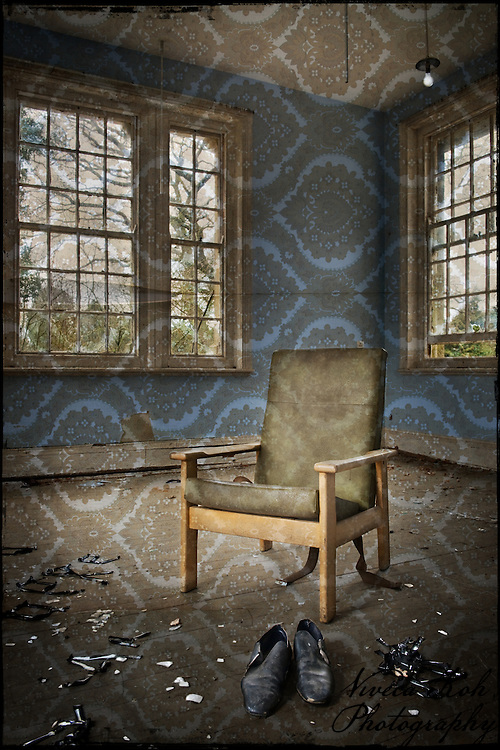 Chair and shoes at Hellingly Asylum http://www.vivecakohphotography.co.uk/2011/02/22/a-blindness-that-touches-perfection/