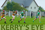 Ballyduff's Kevin Goulding in possession as Matthew Burke of Abbeydorney puts him under pressure in the U16 Co Hurling Championship final in Lerrig on Sunday