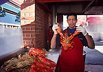 Man with lobster at Fisherman's Wharf