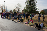 NWA Democrat-Gazette/CHARLIE KAIJO Students wait outside of Burns Hall following a fire alarm on Thursday, November 9, 2017 at Northwest Arkansas Community College in Bentonville. Students and faculty evacuated Burns Hall around noon after a fire alarm went off. The cause of the fire was burnt popcorn on the third floor.