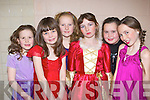 Entertaining the crowds in the Currow Kids Drama group Christmas musical in Currow Community Centre on Friday evening was l-r: Edel Brosnan, Eilish Brosnan, Roisin Scanlon, Emily O'Sullivan, Siobha?in Brosnan and Aoife O'Sullivan .