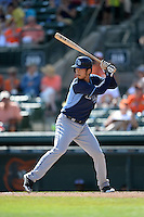Tampa Bay Rays shortstop Hak-Ju Lee (36) during a Spring Training game against the Baltimore Orioles on March 14, 2015 at Ed Smith Stadium in Sarasota, Florida.  Tampa Bay defeated Baltimore 3-2.  (Mike Janes/Four Seam Images)