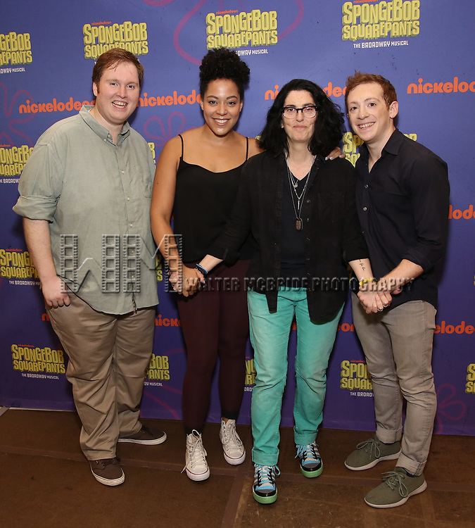 Danny Skinner, Lilli Cooper, Tina Landau and Ethan Slater during the Rehearsal Press Preview of the New Broadway  Musical on 'SpongeBob SquarePants'  on October 11, 2017 at the Duke 42nd Street Studios in New York City.