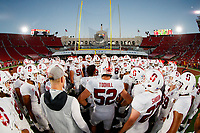 LOS ANGELES, CA - SEPTEMBER 7: The Stanford Cardinal football team huddles before the game during a game between USC and Stanford Football at Los Angeles Memorial Coliseum on September 7, 2019 in Los Angeles, California.
