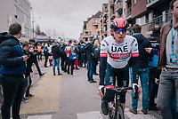 Jasper Philipsen (BEL/UAE-Emirates) finishing<br /> <br /> 74th Omloop Het Nieuwsblad 2019 <br /> Gent to Ninove (BEL): 200km<br /> <br /> ©kramon