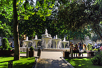 Azerbaijan, Baku. Green park and fountains.